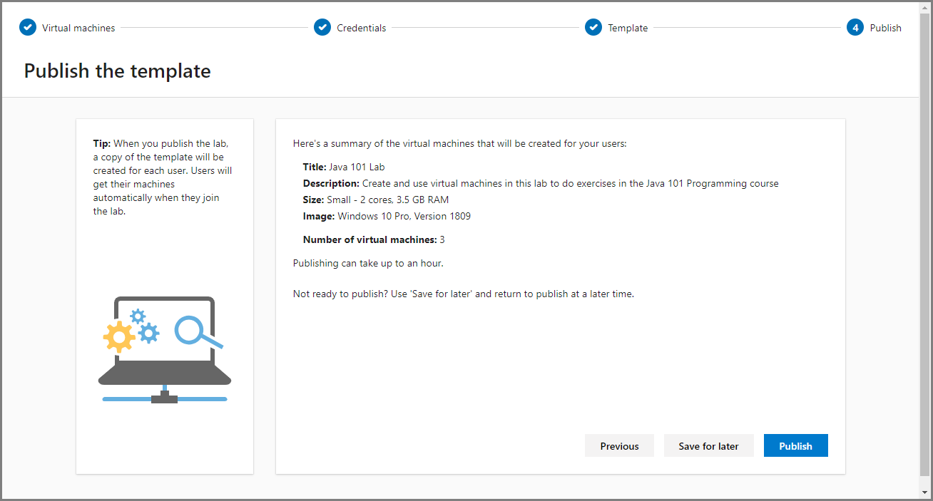 Screenshot of publishing a template in Azure Lab Services