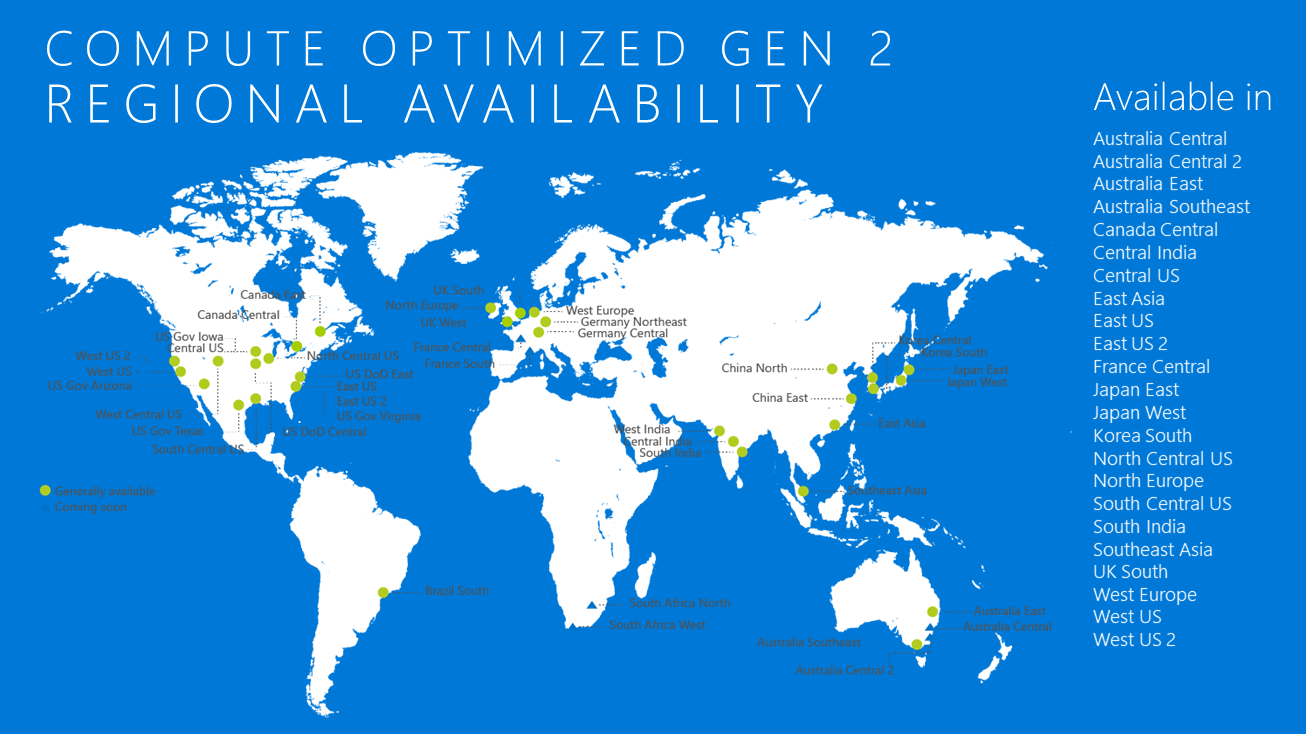 Compute Optimized Gen 2 Regional Availability