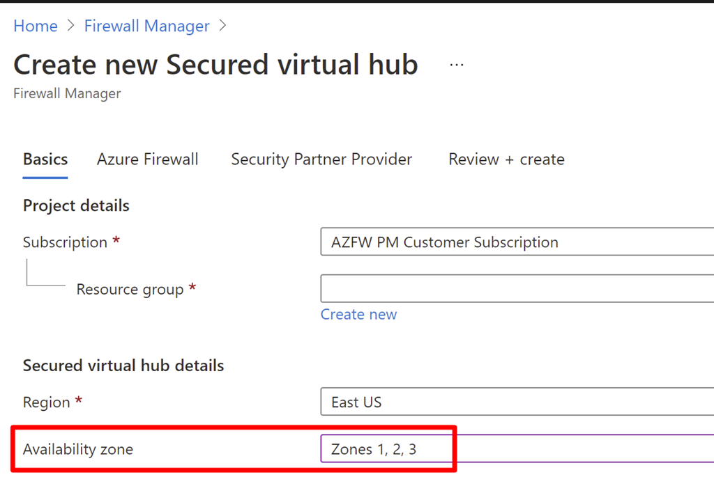 An image of creating a new secured virtual hub with a new option to include Availability Zones.