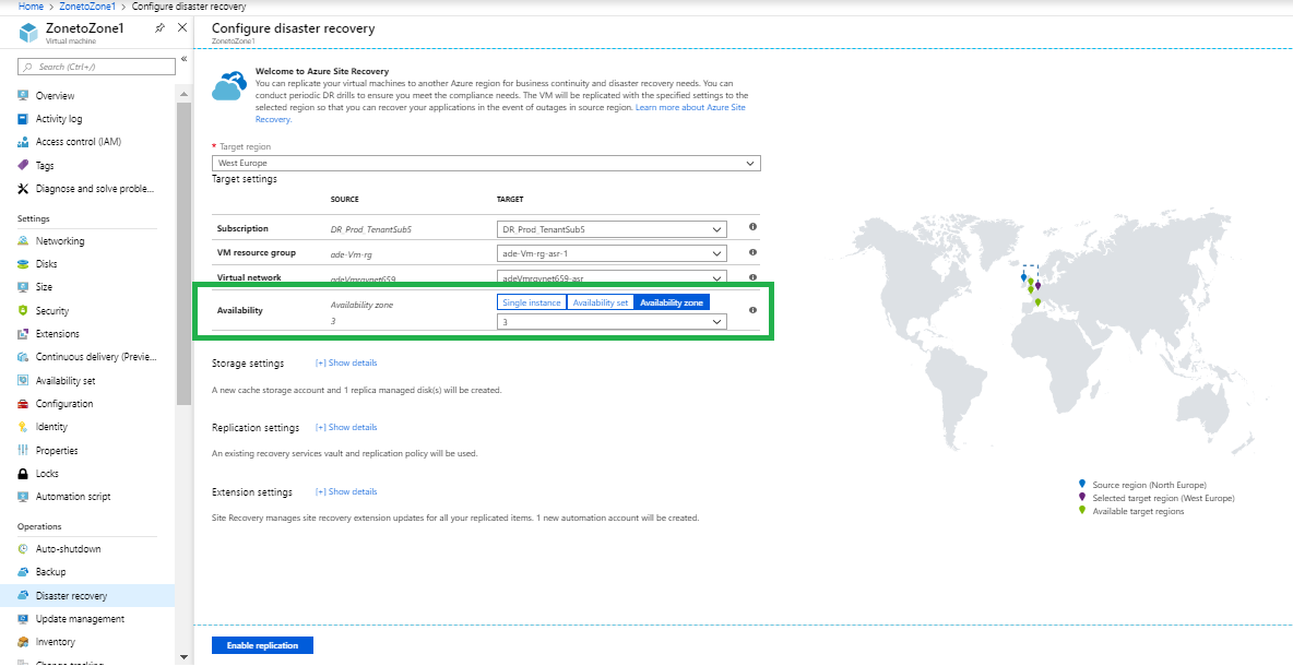 Configuring disaster recovery in Azure Site Recovery