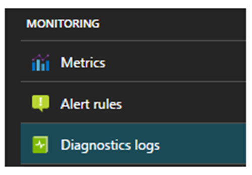 Link to Diagnostics logs on Azure portal