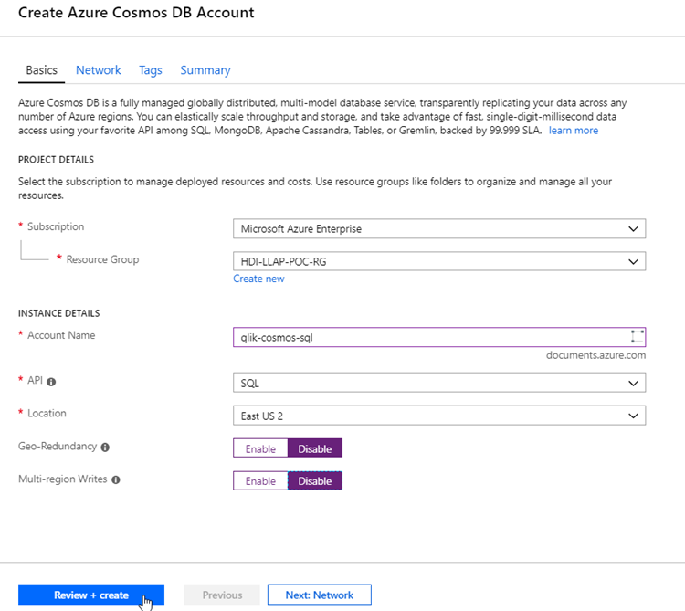 Create Azure Cosmos DB account screenshot