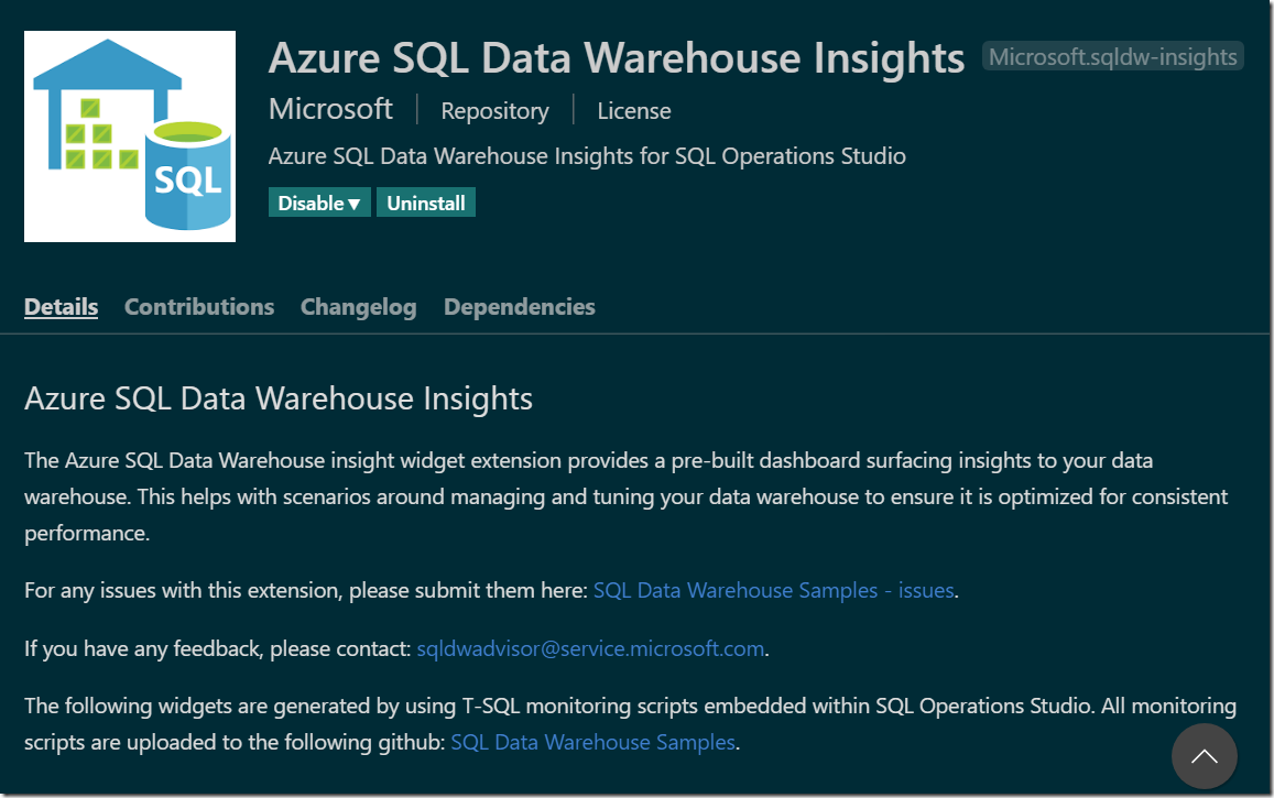 Azure SQL Data Warehouse Insights Extension
