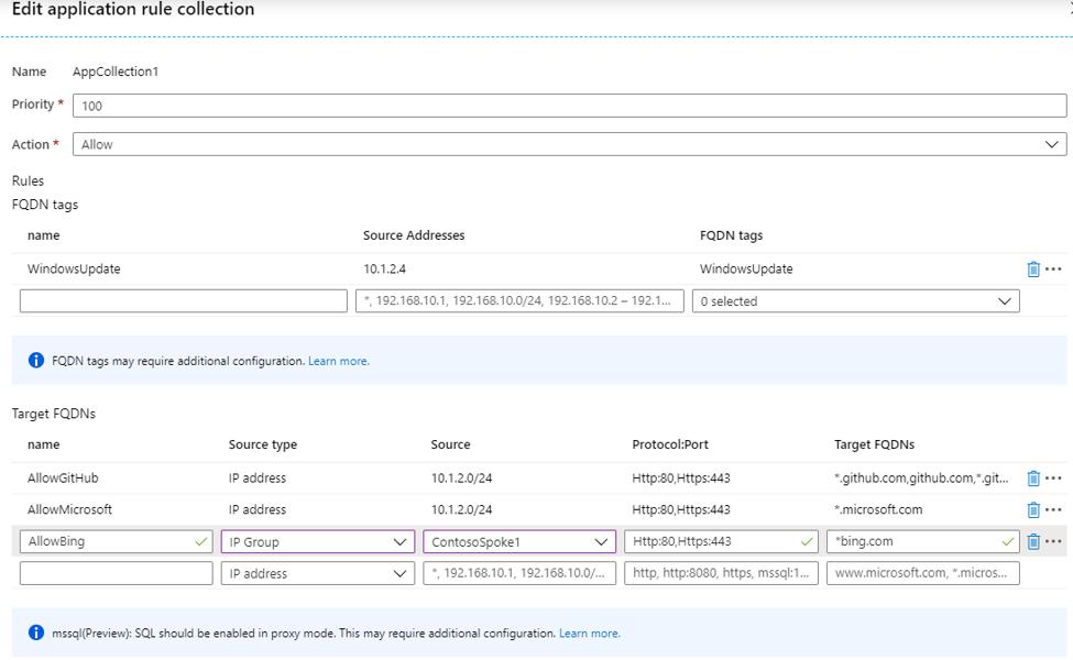 Azure Firewall-Anwendungsregeln nutzen IP-Adressgruppe