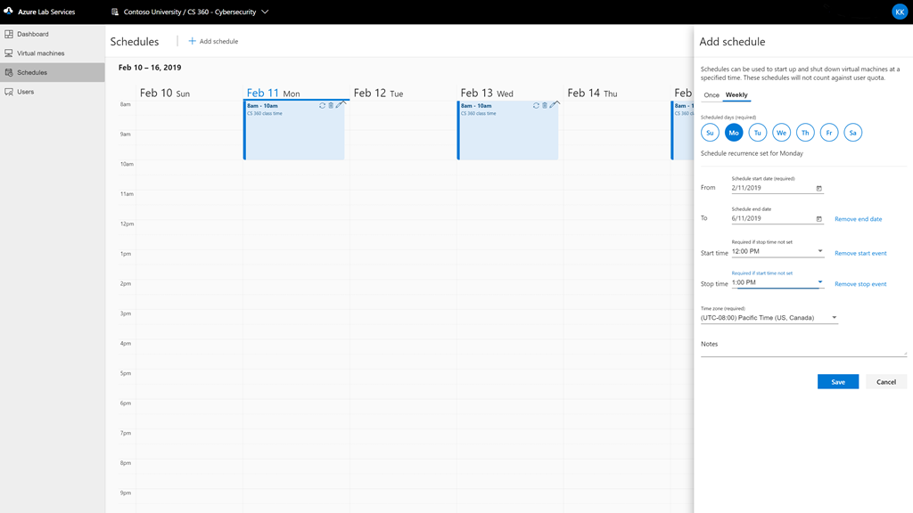 Screenshot of Azure Lab Services scheduling calendar