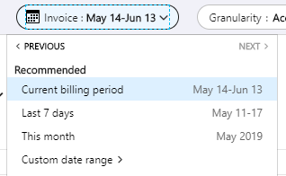 An image showing how to choose which billing period to view.
