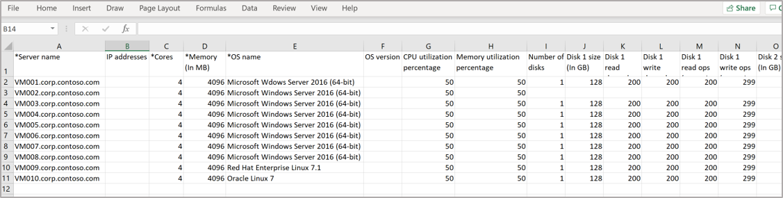 An example CSV file with the Server name, number of cores, Operating system name, CPU utilization, and disk information filled in.
