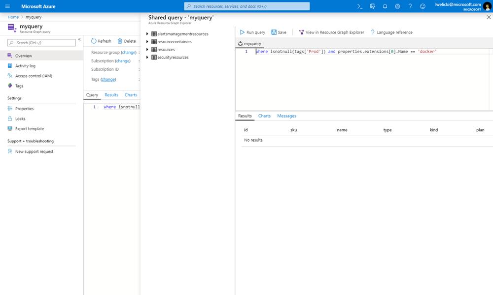 Azure Graph クエリを示すスクリーンショット。
