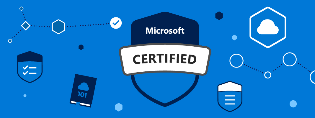 Microsoft Certified graphic showing various icons and the Microsoft Certified badge.