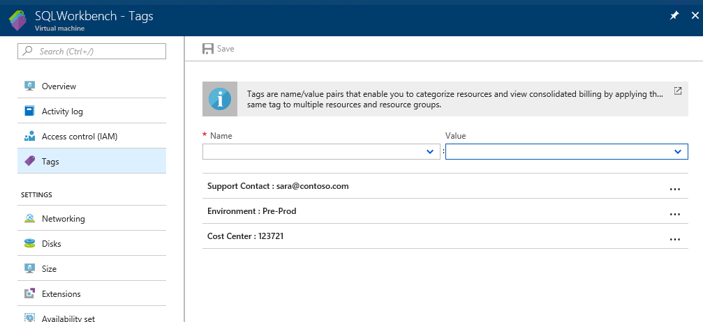 Tags are name/value pairs that enable you to categorize resources and view consolidated billing.