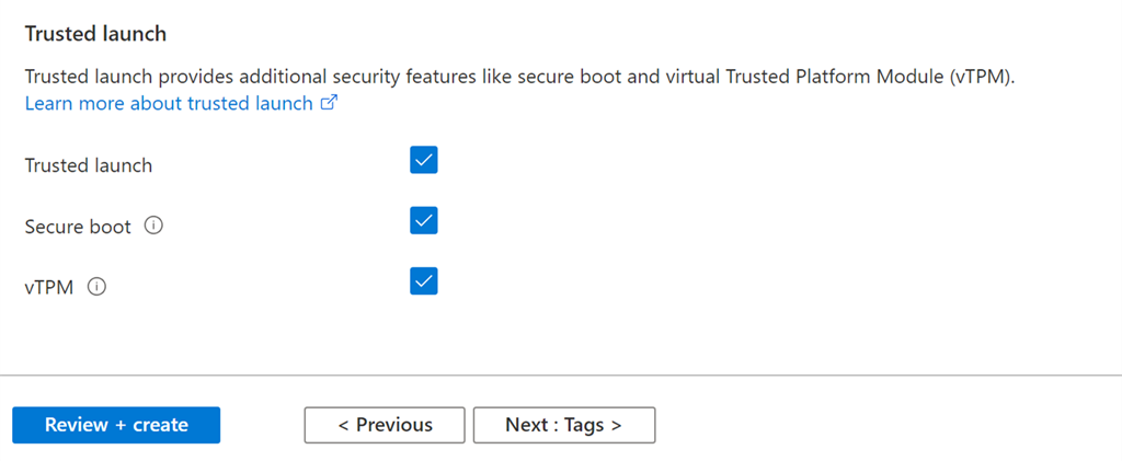 Azure Trusted Launch configuration screenshot