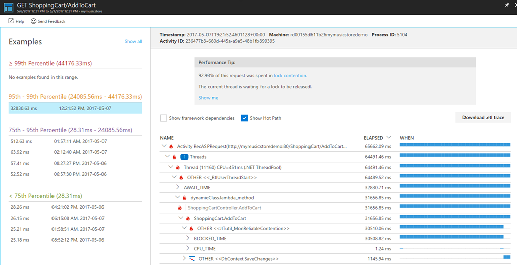 application insights view profiler traces