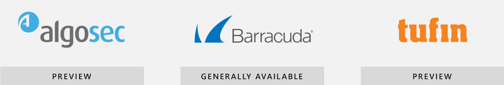 AlgoSec、Barracuda、Tufin のロゴ