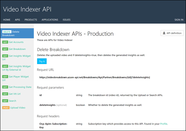 Video Indexer API Page