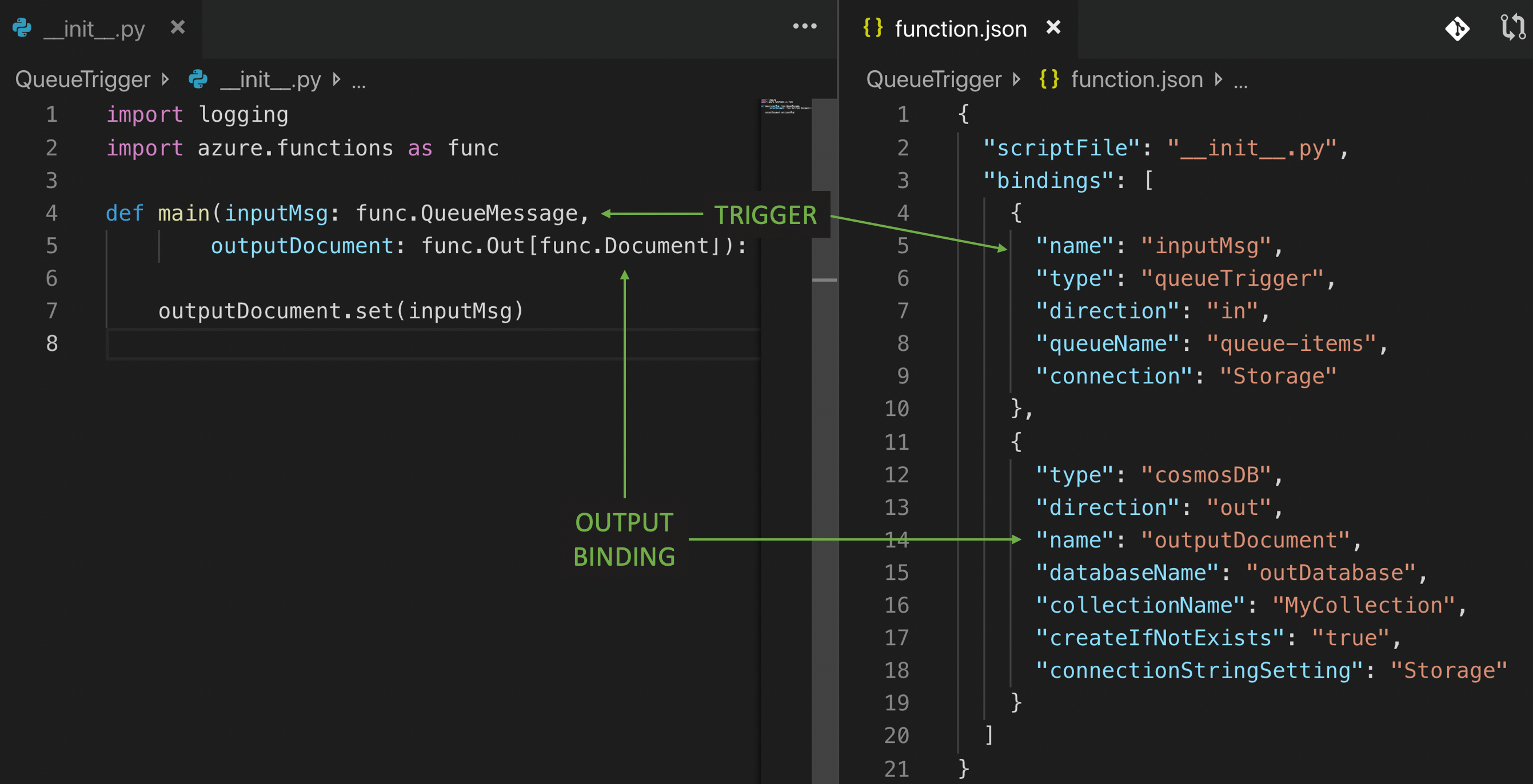 Azure Functions queue trigger example