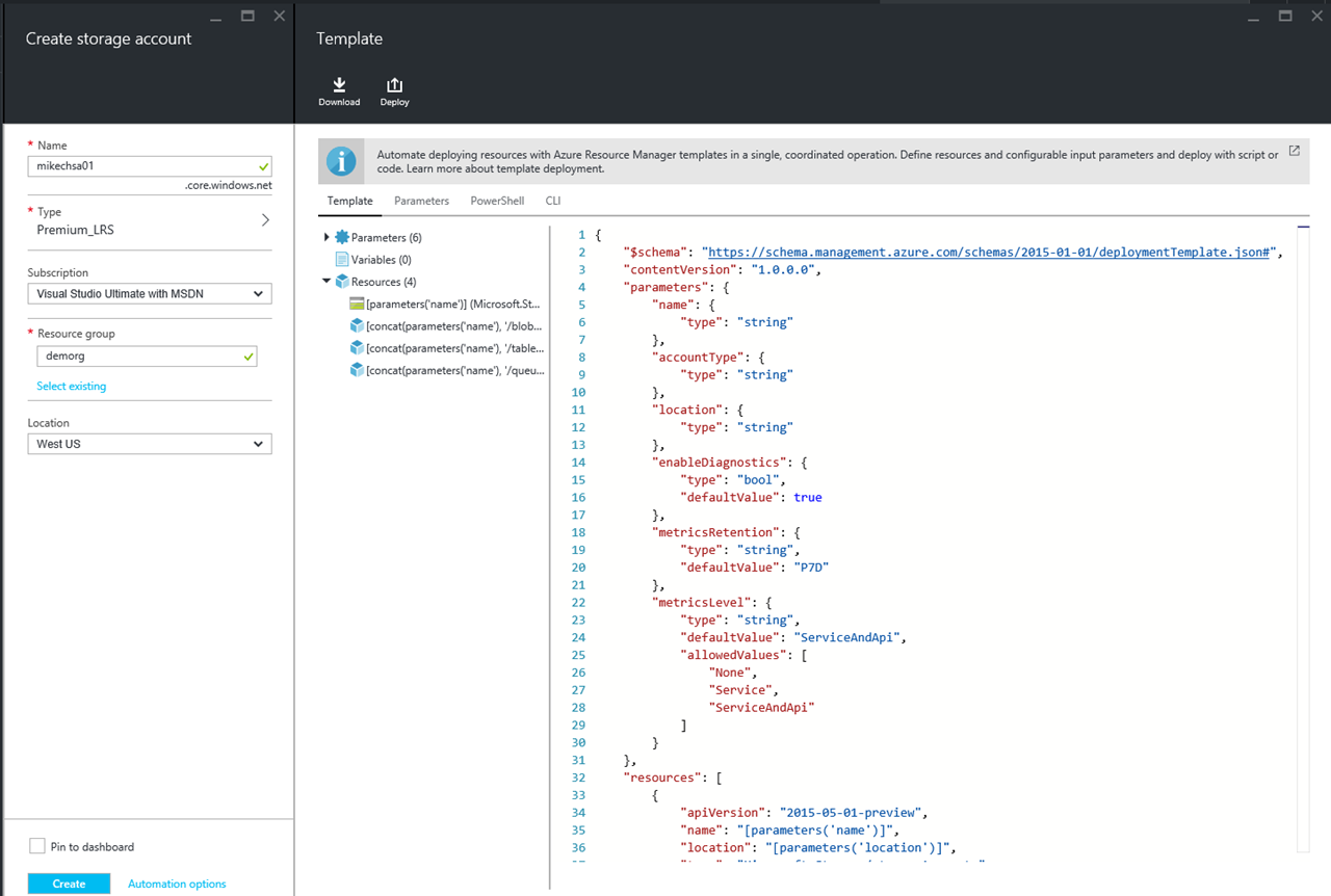 Announcing Template Export Feature In Azure Resource Manager Blog - Automation roadmap template