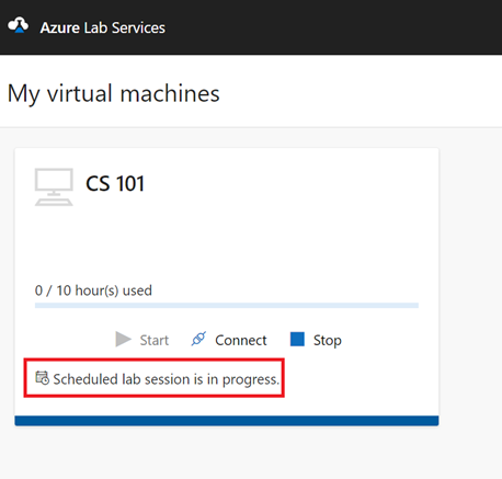 Screenshot of my virtual machines dashboard in Azure Lab Services