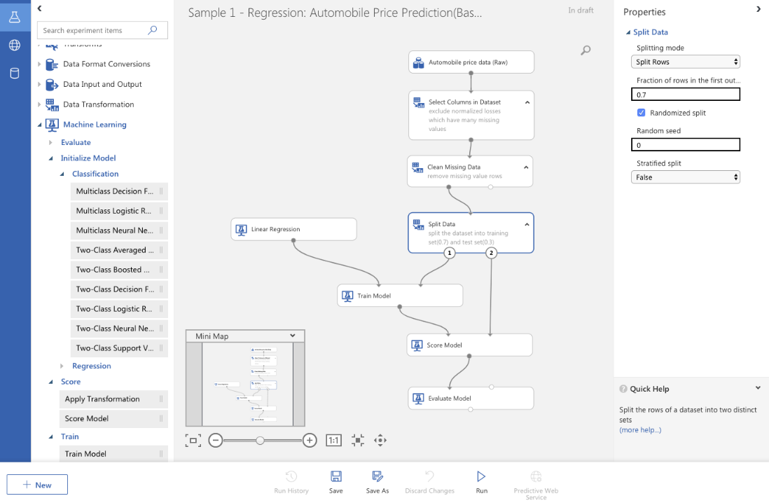 Azure Machine Learning visual interface