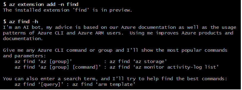 "The new Azure CLI ""Find"" extension command."