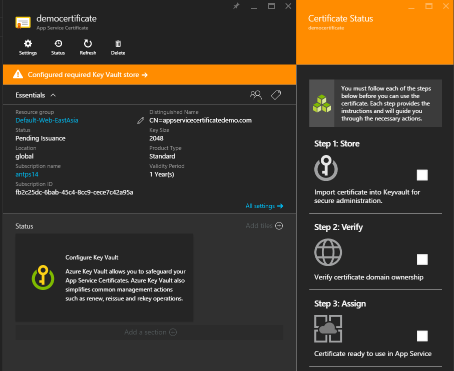 App Service Certificate create workflow status blade
