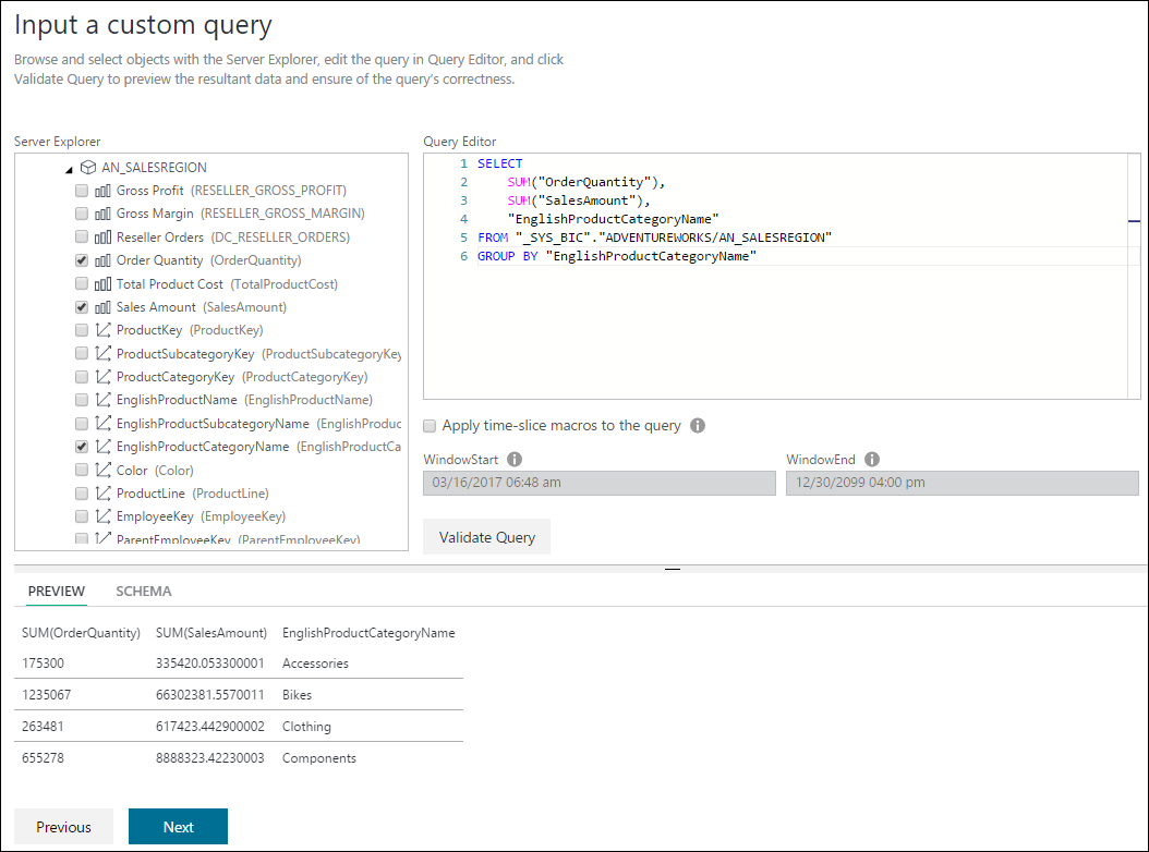 SAP HANA navigation and custom query