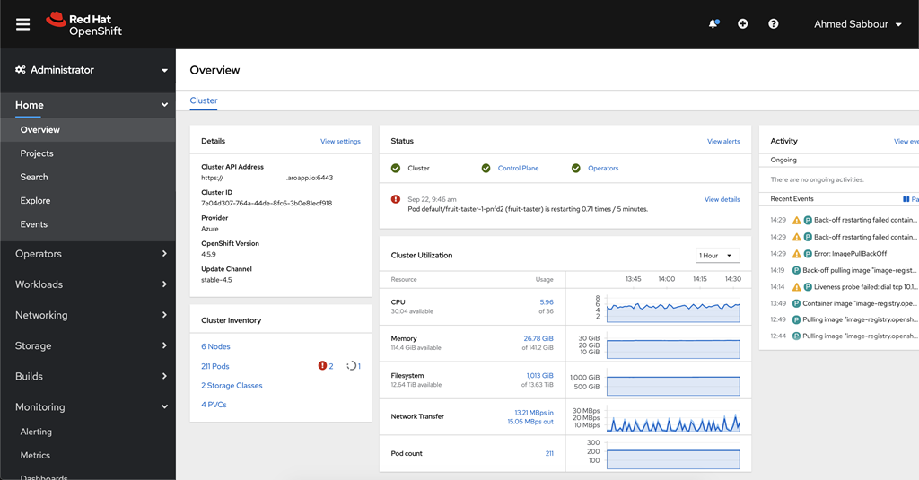 Screenshot of Azure Red Hat OpenShift administrator portal