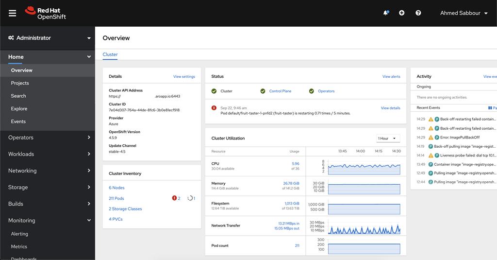 Screenshot des Azure Red Hat OpenShift-Administratorportals