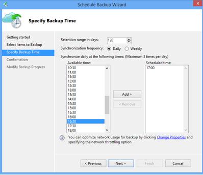 Azure Backup Client Backup Schedule