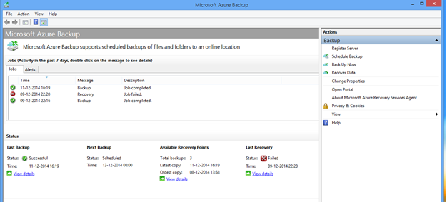 Azure backup client monitoring