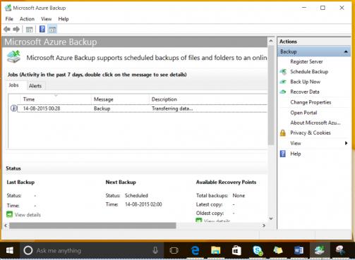 Windows 10 backup monitoring using Azure Backup