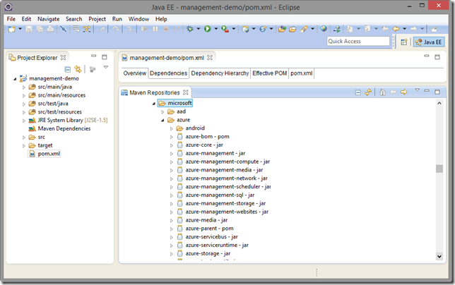 A repository with a list of packages visible in Eclipse