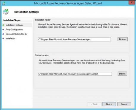 Azure Backup agent installation - Folder and scratch page settings