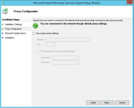 Azure Backup agent installation - Proxy settings