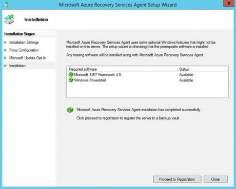 Azure Backup agent installation - Proceed to Registration