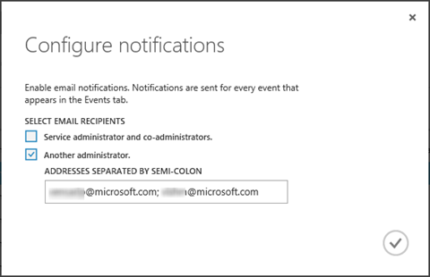 Configure notifications dialog