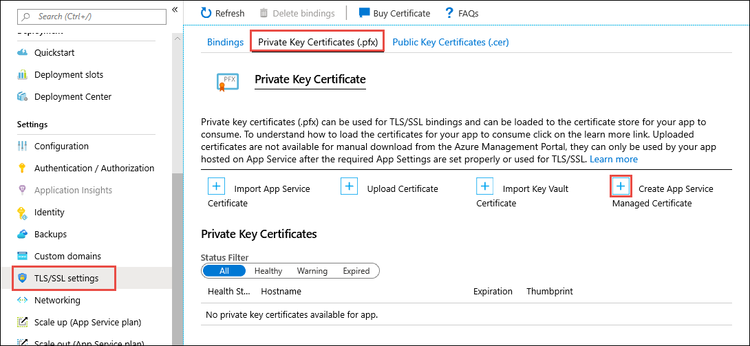 Create App Service Managed Certificate