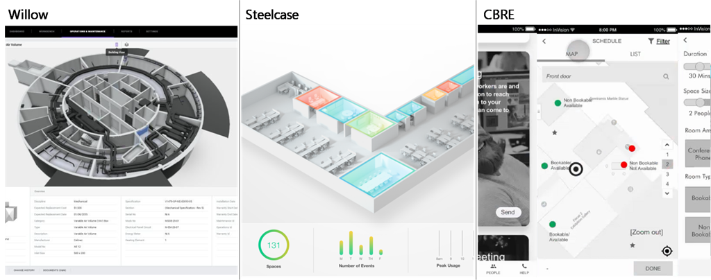 Example screenshots of Azure Digital Twins solutions from Willow, Steelcase, and CBRE