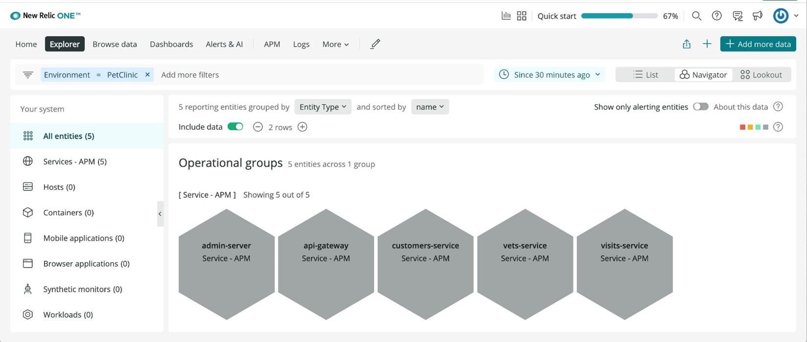 Screenshot 6—show how Navigator view groups your instances across Azure Spring Cloud instances.