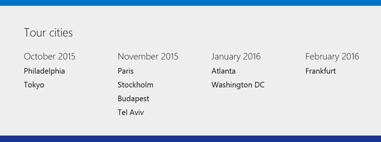 Azure Tour Cities
