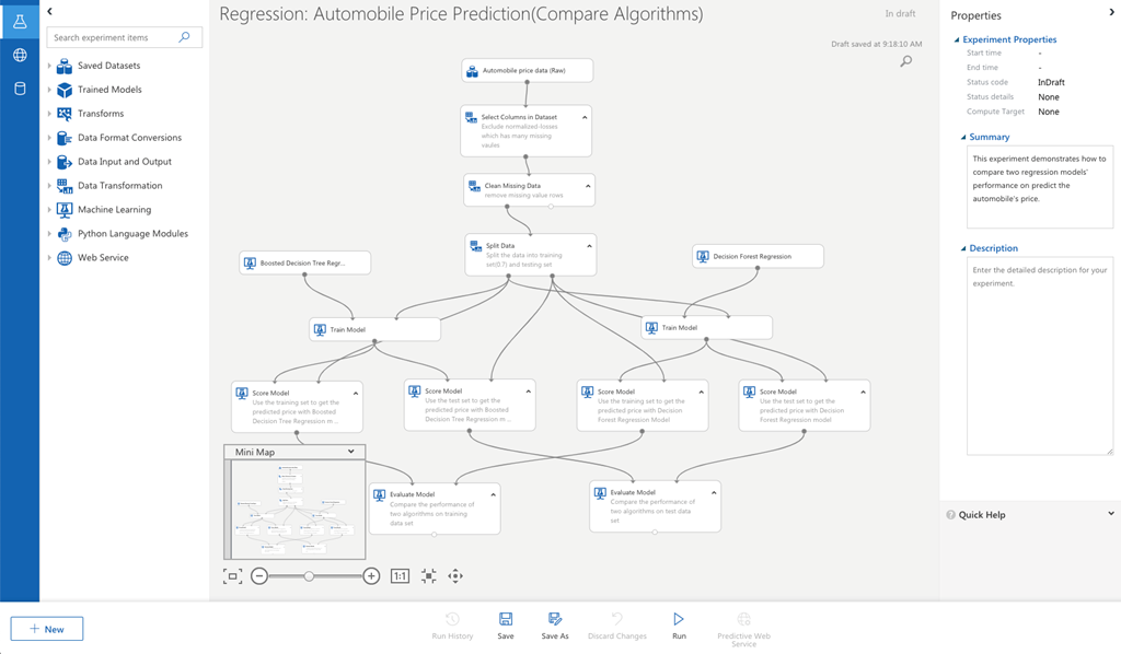 An image showing the new visual interface for Azure Machine Learning service.