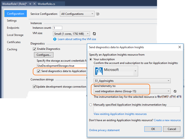 Send Azure Diagnostics to Application Insights