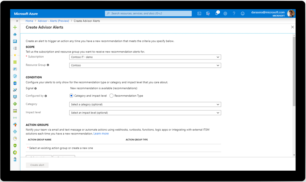 An image of the Microsoft Azure Advisor alert creation page.