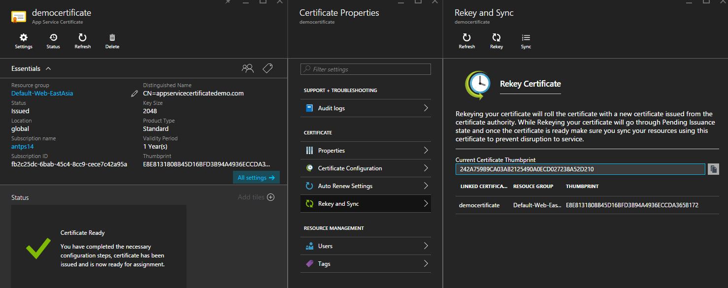 App Service Certificate out of sync with linked certificates