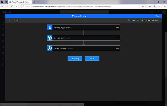 Get a device and Run a command actions in Microsoft Flow.
