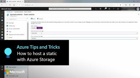 How to host a static website with Azure Storage | Azure Tips and Tricks
