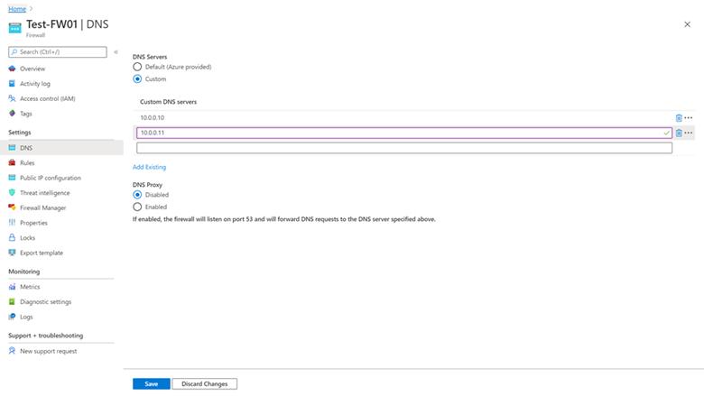 Azure Firewall でのカスタム DNS および DNS プロキシの設定。