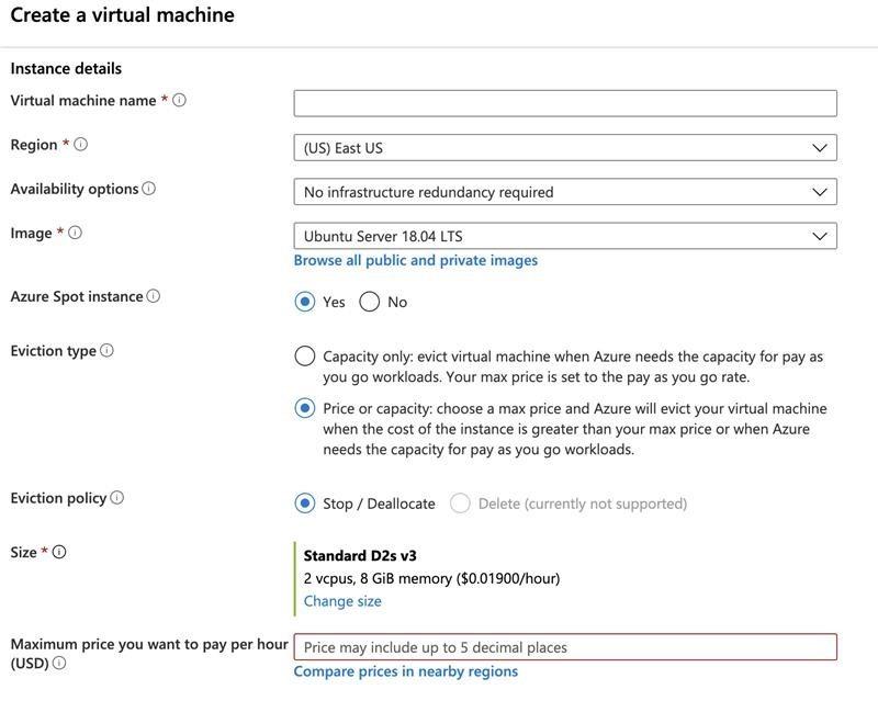 Capacidad de proporcionar el precio máximo para implementar máquinas virtuales al contado.