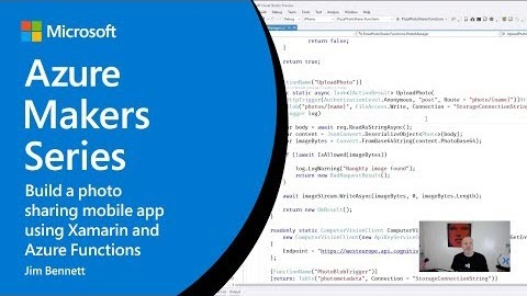 Thumbnail from How to build a photo sharing mobile app using Xamarin and Azure Functions on YouTube