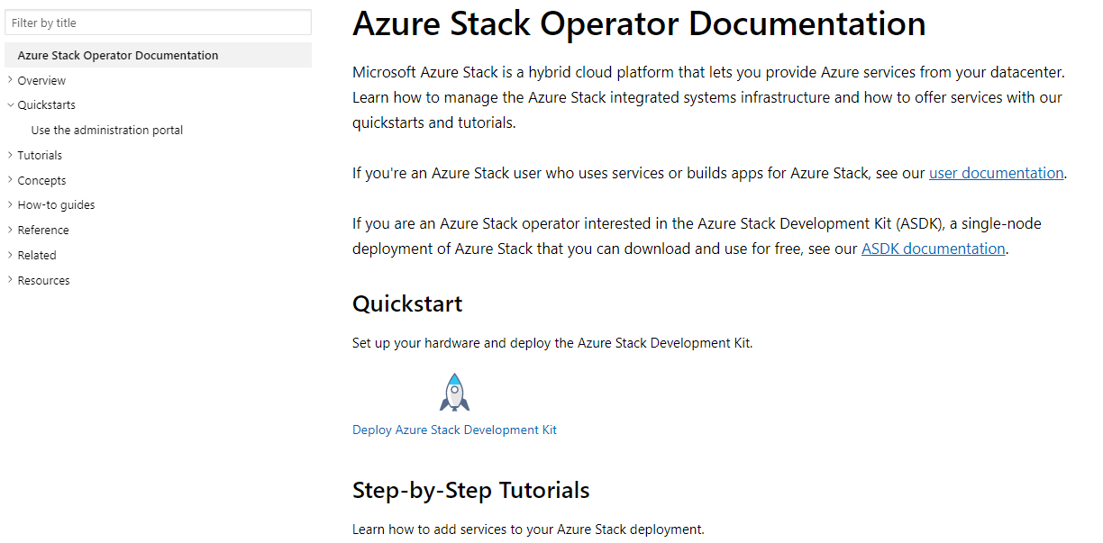 Screenshot of Azure Stack Operator Documentation